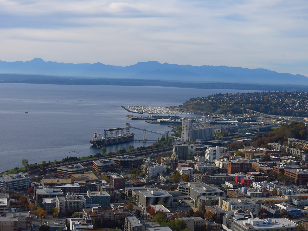 Wider view of WNW:  Elliott Bay and Olympic Mountains in the distance