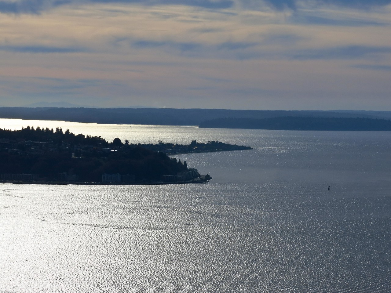 View from the Space Needle looking SSW:  West Seattle and Alki Point