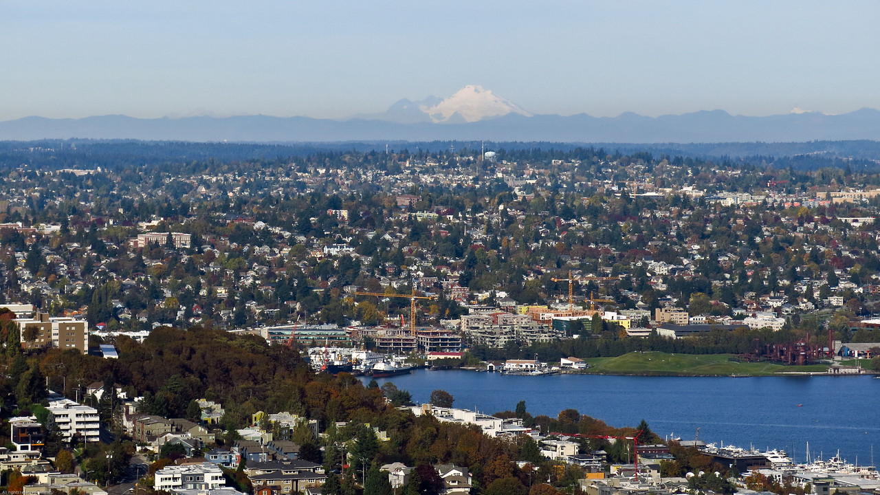 View to NNE:  Mount Baker and Lake Union