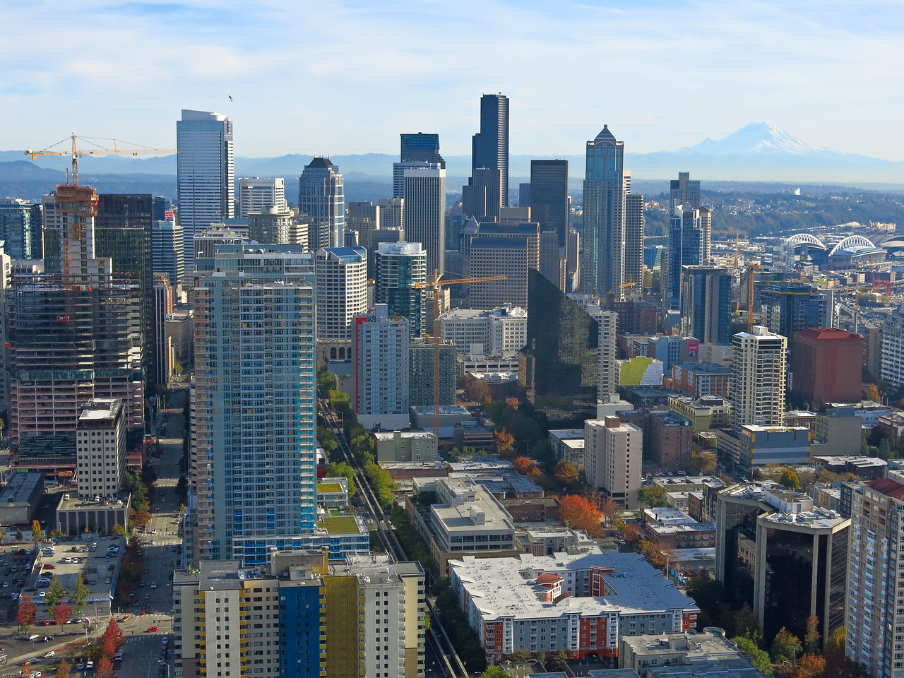 Back to looking SSE:  Downtown Seattle with Mount Rainier in distance