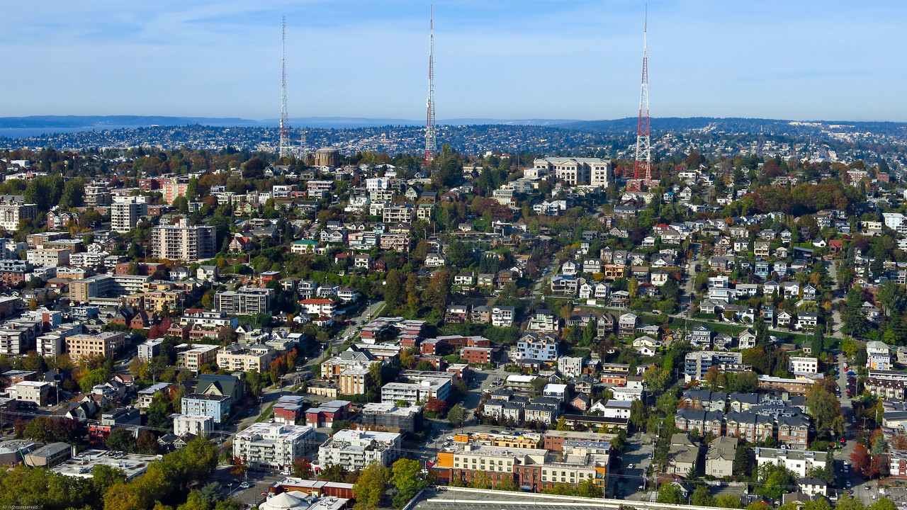 Looking north:  Queen Anne hill - a Seattle neighborhood