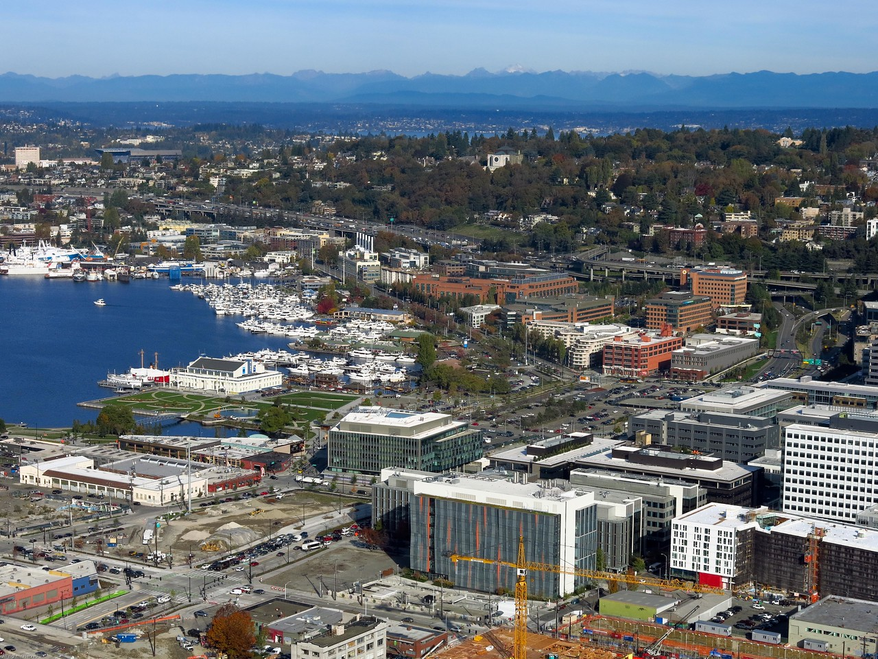 View to ENE:  Lake Union and I-5 Freeway in Seattle