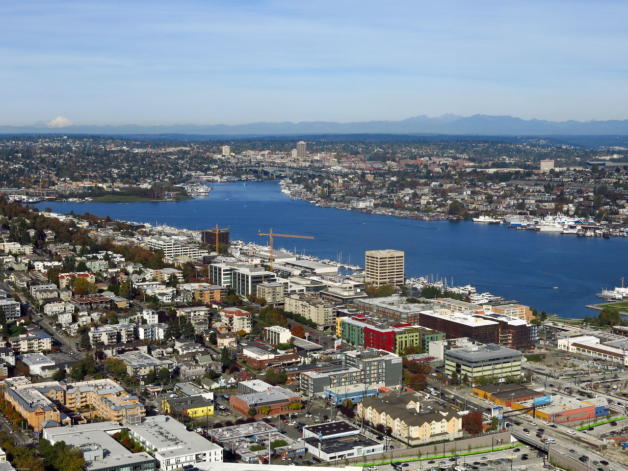 A wider view to the NNE:  Lake Union, Mount Baker on the left side horizon and Cascade Mountains on the right