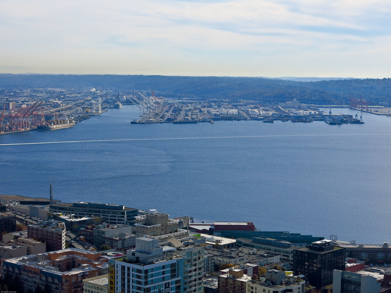 View from the Space Needle looking South:  Elliot Bay and Seattle waterfront