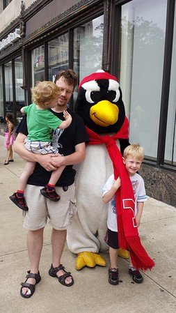 Pete the Penguin poses with Dj and the boys