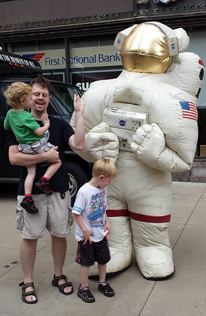 Three earth guys and a space man
