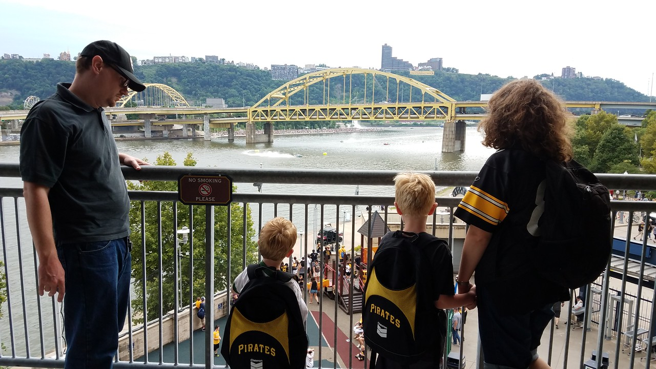 the annual regatta is taking place on the Allegheny River below