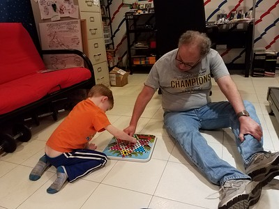 Samson & Grandpop playing Chinese checkers