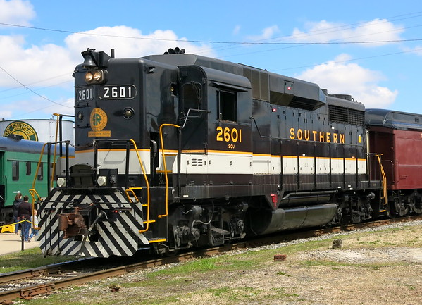 Trains outdoors and inside Back Shop, North Carolina Transportation Museum, March 25, 2018