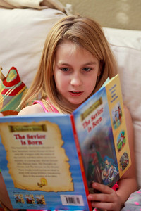 """Ariahla reading """"The Christmas Story"""" to all of us."""