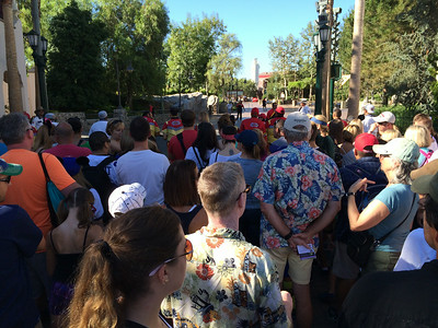 Other than this small group of folks waiting to get into California Adventures there was no one else.  No wait times at all on the rides, just walk right on.