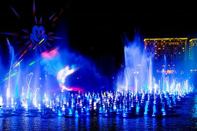 The Wonderful World of Color water and light show at California Adventure.  What a great show they put on.  In this moment the projection on the water is Robin Williams character in Aladin.
