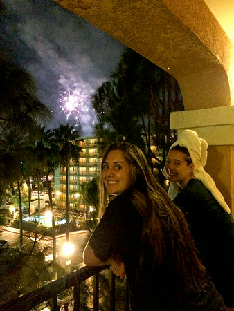 Watching the fireworks from the balcony of our room at the Fairfield Inn by Marriott.