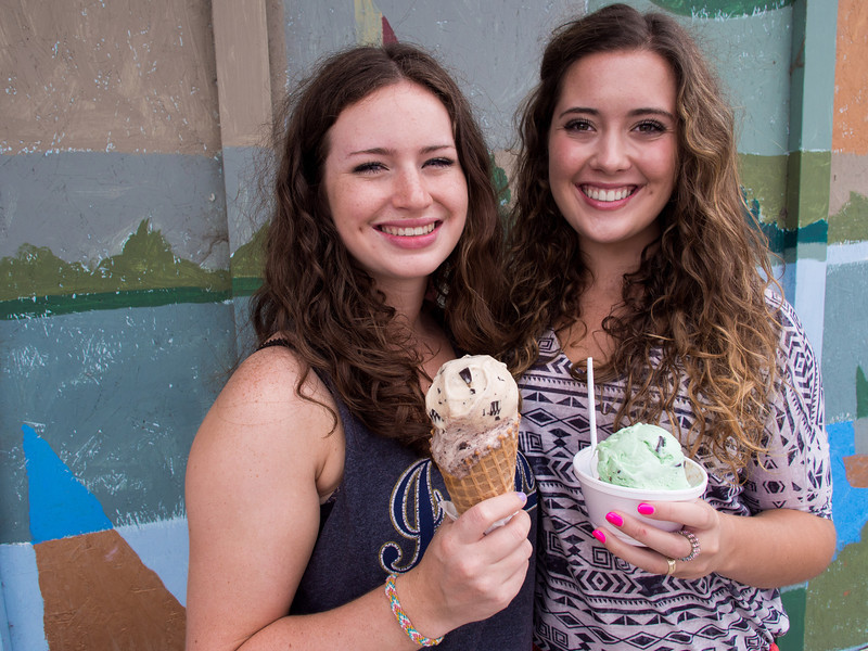 Jessica and Emma at the Sojourners for ice cream
