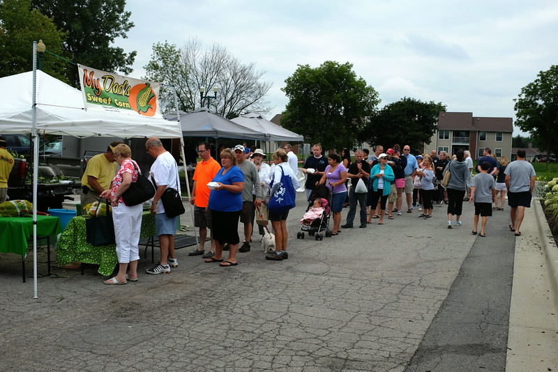 Seems ironic that there's a long line for corn in Indiana. It's like a long line for fish in Seattle.