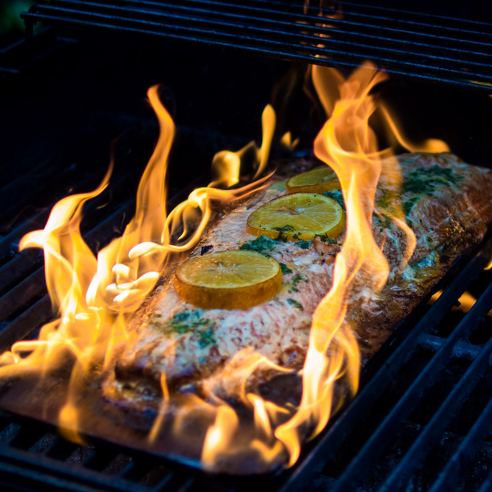Not to worry, this lovely piece of Copper River Salmon came off the grill right after this photo and was done to perfection.