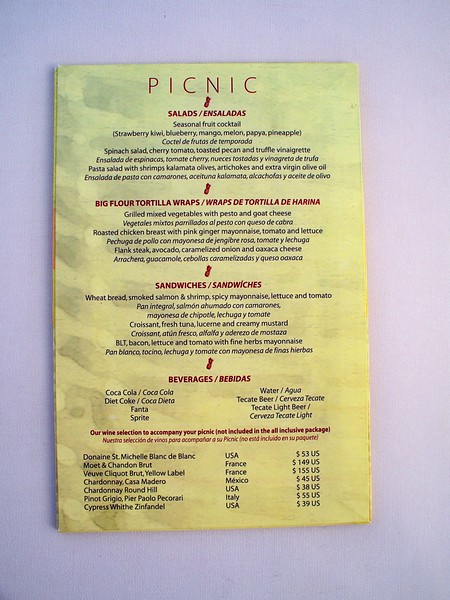 "Picnic menu at Azul Beach<br /> <br /> For more information on Azul Sensatori, family vacations or a destination wedding, contact Romance@SandnSunVacations.com for more information. Please put ""Cherie"" in the subject line."