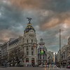 Gran Via at sunset, Madrid.