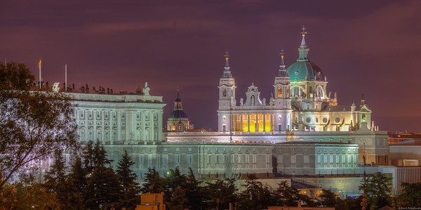 View of Almudena cathedral from Oeste park.