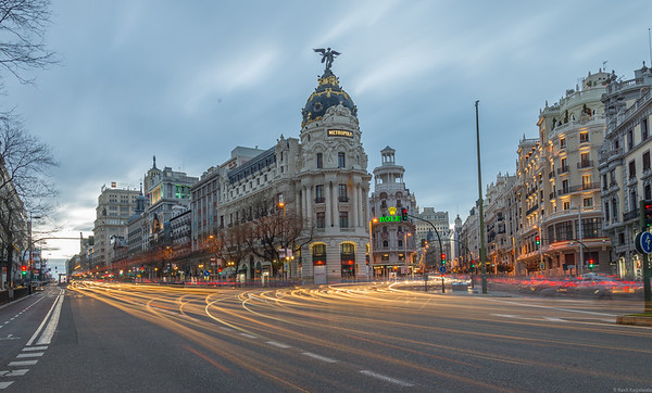 Gran Via at dusk, Madrid.