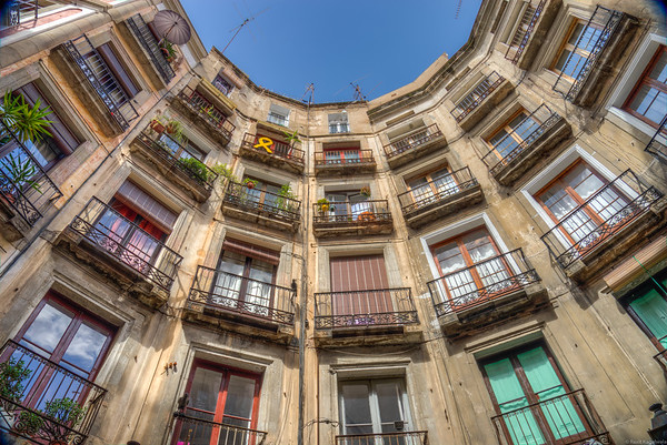 Residential buildings in the gothic quarter in Barcelona.