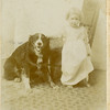 "Bessie Ellen Roberts and ""Old Ring"".<br /> ""The dog was one that had crossed the plains<br /> with the family in 1890.""  Boise, ID  c. 1893"