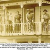 "Gathering at ""family homeplace"" of Florence Etta (Montgomery) Patton (1893-1975).<br /> On balcony 2nd from left is Florence (holding daughter Freida Eula).<br /> On balcony rail on right is her husband, Thomas Edward Patton, (1891-1961). <br /> Phillipsburg, MO, c 1913"