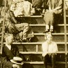 "Ernest Willsey writes, ""Aunt Minnie's flat<br /> in Albany.  Dad & Minnie on top step.""<br /> 'Dad' is Ben Willsey (1868-1947),<br /> Minnie (b.1871) is Ben's sister."