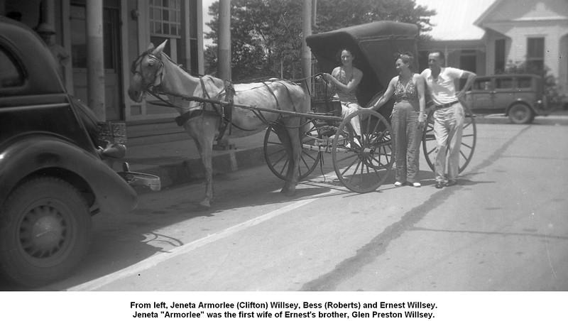 "From left, Jeneta Armorlee (Clifton) Willsey, Bess (Roberts) and Ernest Willsey.<br /> Jeneta ""Armorlee"" was the first wife of Ernest's brother, Glen Preston Willsey."
