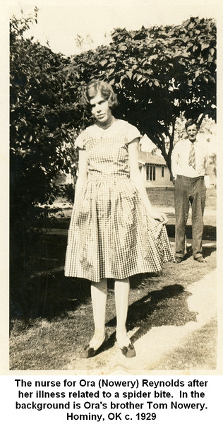 The nurse for Ora (Nowery) Reynolds after<br /> her illness related to a spider bite.  In the<br /> background is Ora's brother Tom Nowery.<br /> Hominy, OK c. 1929