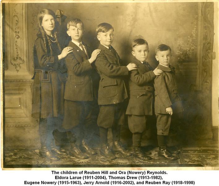 The children of Reuben Hill and Ora (Nowery) Reynolds.<br /> Eldora Larue (1911-2004), Thomas Drew (1913-1982), <br /> Eugene Nowery (1915-1963), Jerry Arnold (1916-2002), and Reuben Ray (1918-1998)