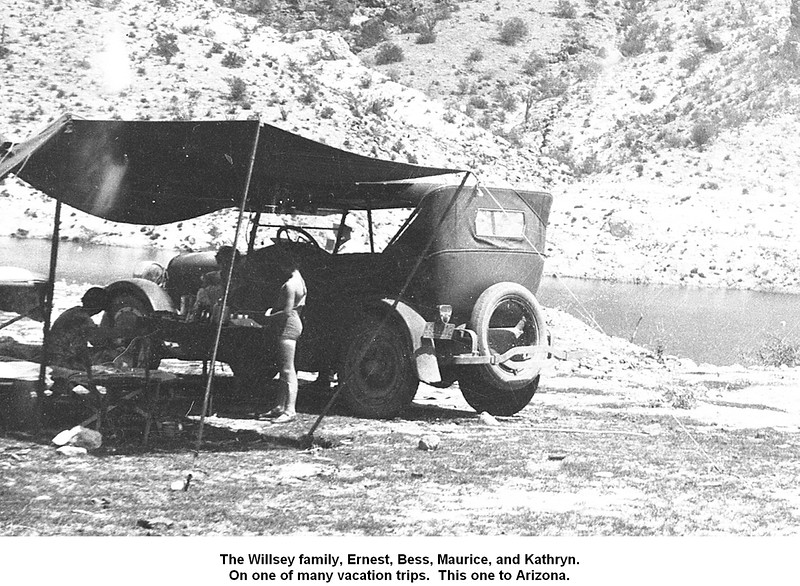 The Willsey family, Ernest, Bess, Maurice, and Kathryn.<br /> On one of many vacation trips.  This one to Arizona.