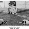 Kathryn Reynolds and her kids, from left, Gene, Jerry and Kathy.<br /> The dogs are Lady, left, and Queen.<br /> At home, Tulsa, OK  1946