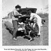 "From left, Bishop Reynolds, her dog Peggy, her niece Sue Reynolds,<br /> and Chalkie Herald.  At ""the farm"".<br /> 6 Apr 1952"