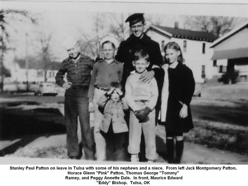 """Stanley Paul Patton on leave in Tulsa with some of his nephews and a niece.  From left Jack Montgomery Patton, <br /> Horace Glenn """"Pink"""" Patton, Thomas George """"Tommy"""" <br /> Ramey, and Peggy Annette Dale.  In front, Maurice Edward<br /> """"Eddy"""" Bishop.  Tulsa, OK"""