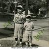 """Maurice Edward """"Eddie"""" Bishop and cousin<br /> Jeffrey Warren Patton at the Patton home<br /> on S. Nogales, Tulsa, OK  c, 1949"""