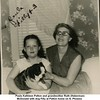 Paula Kathleen Patton and grandmother Ruth (Haberman)<br /> McDonald with dog Filly at Patton home on N. Phoenix <br /> Tulsa, OK