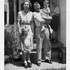Ruth Mae (Haberman) and John Monroe<br /> McDonald with grandchildren Paula Kathleen<br /> (standing) and Jeffrey Warren Patton at Patton<br /> home on N. Elwood.  Ruth and John's daughter<br /> Dona Nell leaning on wall in background. <br /> Tulsa, OK c. 1947