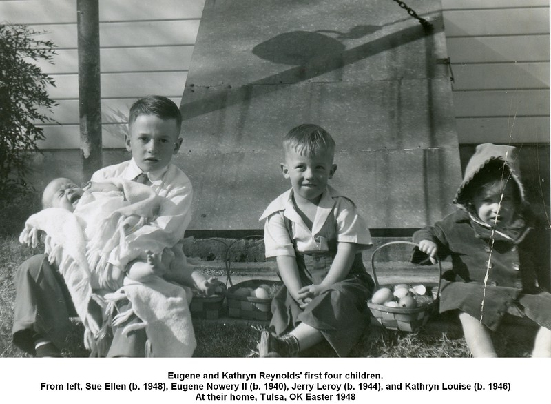 Eugene and Kathryn Reynolds' first four children.<br /> From left, Sue Ellen (b. 1948), Eugene Nowery II (b. 1940), Jerry Leroy (b. 1944), and Kathryn Louise (b. 1946)<br /> At their home, Tulsa, OK Easter 1948