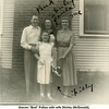 "Warren ""Bud"" Patton with wife Shirley (McDonald), <br /> daughter Paula, Mother-in-law Ruth (McDonald)<br /> Haberman, and dog Filly at home on N. Phoenix.<br /> Tulsa, OK"