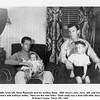 """Adults from left, Drew Reynolds and his brother Gene.  With Gene's sons Jerry, left, and Gene.<br /> Gene's wife Kathryn writes, """"Here are the men folks - Drew really has a time with little Jerry"""".<br /> At Drew's home, Tulsa, OK, 1945"""
