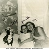 Paula Kathleen Patton with grandmother Ruth (Haberman) <br /> McDonald and dog Filly in Paula's bedroom on Phoenix<br /> Tulsa, OK