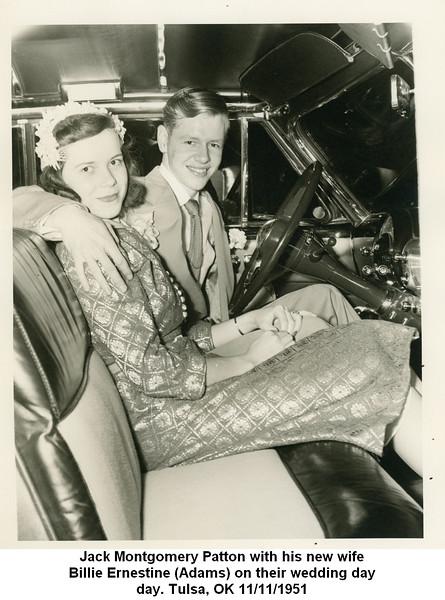Jack Montgomery Patton with his new wife<br /> Billie Ernestine (Adams) on their wedding day<br /> day. Tulsa, OK 11/11/1951