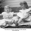 From left, Sue (1 Jan 1948 -) and Kathy (3 Jul 1946 -) Reynolds.<br /> Tulsa, OK May 1949