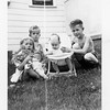The Eugene and Kathryn Reynolds kids.<br /> From left, Kathy, Jerry, Sue, and Gene.<br /> At their home, Tulsa, OK  1948