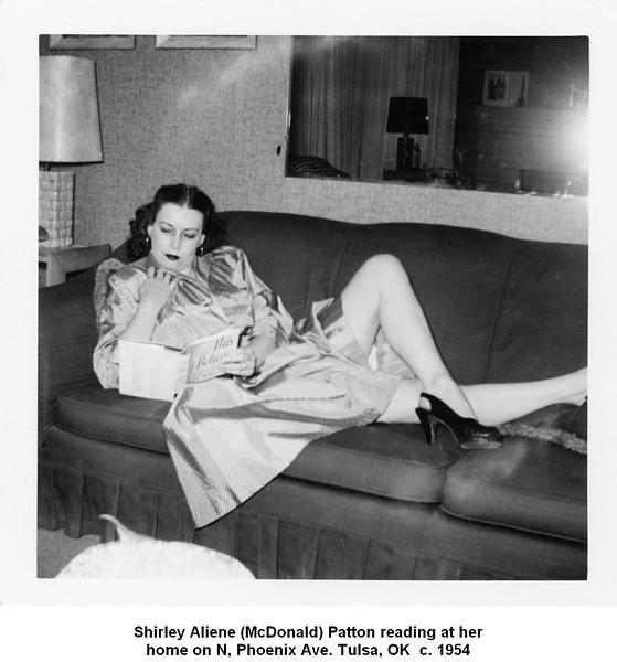 Shirley Aliene (McDonald) Patton reading at her<br /> home on N, Phoenix Ave. Tulsa, OK  c. 1954
