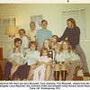 Standing from left, Gene and Jerry Reynolds, Tony Johnston, Tom Reynolds.  Seated from left, Paula<br /> and daughter Laura Reynolds, Sue Johnston, Kathy and daughter Cindy Howard, Donna Reynolds.<br /> Tulsa, OK  Thanksgiving, 1971