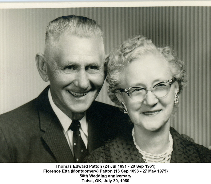 Thomas Edward Patton (24 Jul 1891 - 20 Sep 1961)<br /> Florence Etta (Montgomery) Patton (13 Sep 1893 - 27 May 1975)<br /> 50th Wedding anniversary<br /> Tulsa, OK, July 30, 1960