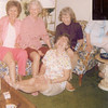 The four daughters of Thomas Edward and Florence<br /> Etta (Montgomery) Patton.  On floor, Georgia Marie<br /> Dale; on couch, from left, Virginia Faye Woods,<br /> Freida Eula Ramey, and Jane Agnes Bishop,