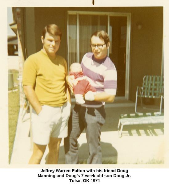 Jeffrey Warren Patton with his friend Doug<br /> Manning and Doug's 7-week old son Doug Jr.<br /> Tulsa, OK 1971